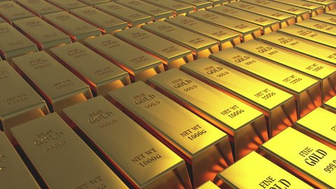 4k Gold bullion gold bars treasury wealth Ingot luxury finance goods trading,3D animation of stacked gold bars. cg_03144_4k