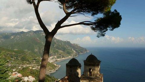 Beautiful relaxation place with wonderful panorama,Villa Rufolo,Ravello,Amalfi coast,Italy,Europe. Video footage. horizontal camera movement
