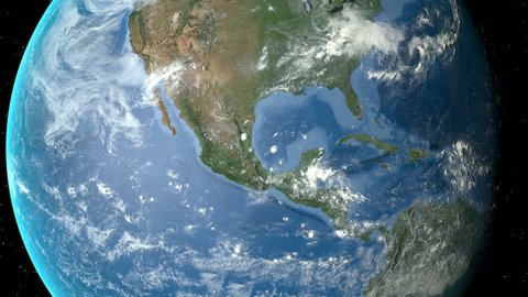 Night to day - rotating Earth. Zoom in on Mexico outlined. Satellite high resolution (86400 px) raster used. Elements of this image furnished by NASA.