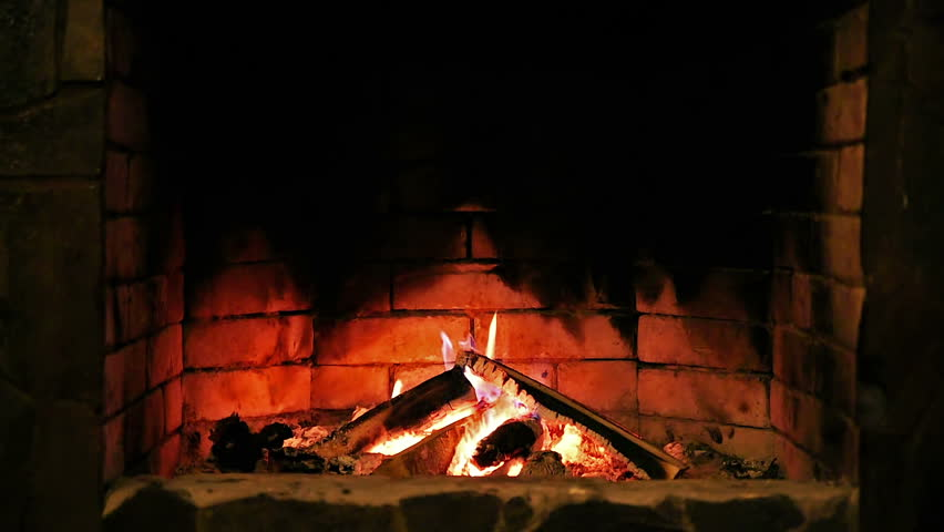 Burning Flame Fire In Fireplace. Looped Cinemagraph Picture Video ...