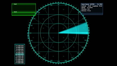 Sonar tactical readout of an incoming object with heading ,weight and speed information,HD 1080
