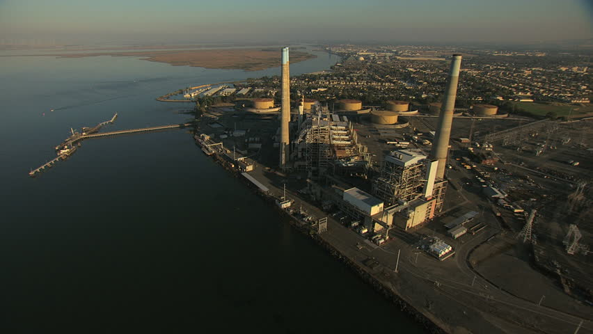 Aerial San Francisco Bay ocean Bridge Antioch factory