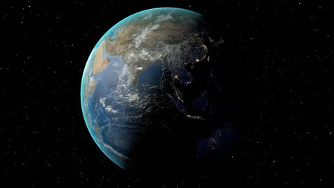 Night to day - rotating Earth. Zoom in on Turkey outlined. Satellite high resolution (86400 px) raster used. Elements of this image furnished by NASA.