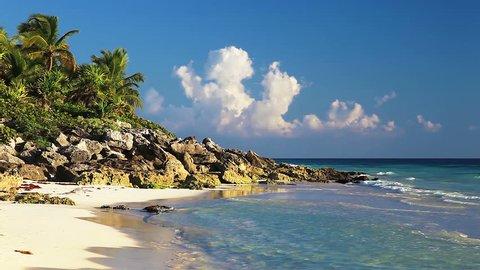 Beautiful wild beach of the Caribbean sea. Playa del Carmen, Riviera Maya, Quintana Roo, Yucatan, Mexico