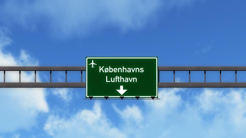 4K Passing under Copenhagen Kobenhavn Denmark Airport Highway Sign with Matte 3D Animation Cinema 4K 4096x2304 ultra high definition | Shutterstock HD Video #12480575