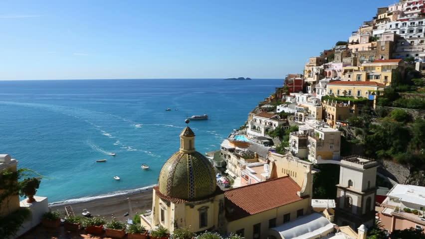 Amalfi coast. Positano. View from the sea beach. Costiera Amalfitana Italy. Video footage