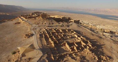 Soaring aerial 4K view MASADA, ISRAEL. Filmed flying the DJI Inspire drone.