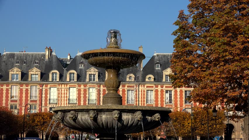 Place des Vosges in Paris. France. Shot in 4K (ultra-high definition (UHD)). | Shutterstock HD Video #12524630