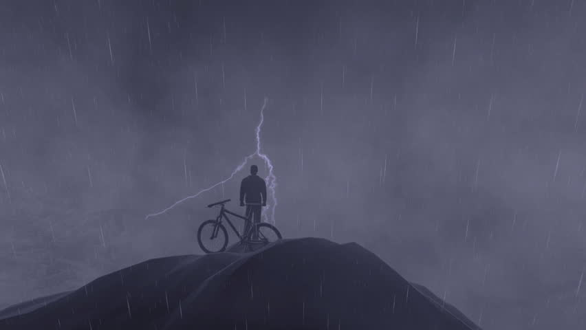 Cyclist on top of the mountain, storm with lightning, camera fly