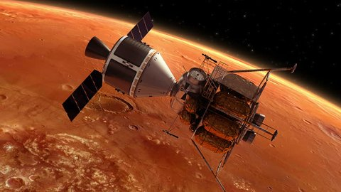 Interplanetary Space Station Orbiting Planet Mars. 3D Animation.