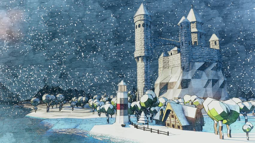 Fly around medieval fairytale castle on the mountain. High tower. Lighthouse. Mountain valley landscape with ocean bay. Animated snowfall. Winter time. Storming wind, low clouds. | Shutterstock HD Video #12597797