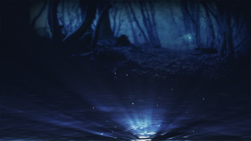 Loopable magic fountain and flying shiny things in a fantasy forest.