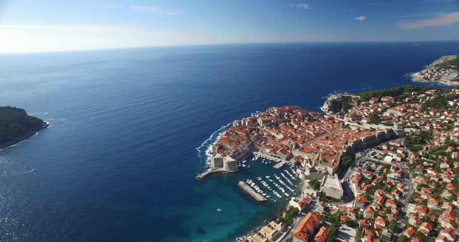 Aerial view of Old Town of Dubrovnik, Croatia