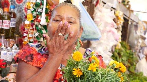 Brazilian woman smiling in Local Market in Amazon, Brazil