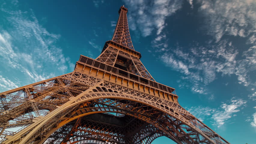 sunset twilight eiffel tower blue sky down to top view paris 4k time lapse france | Shutterstock Video #12657851