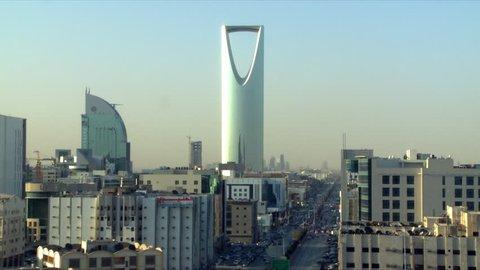 RIYADH, SAUDI ARABIA - March, 2013: Documentary footage shot in Riyadh showing the iconic landmark Kingdom Tower amongst other buildings and showing the skyline in the capital city of Riyadh