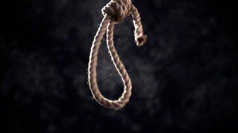 Rope noose with hangman knot in front of dark background.