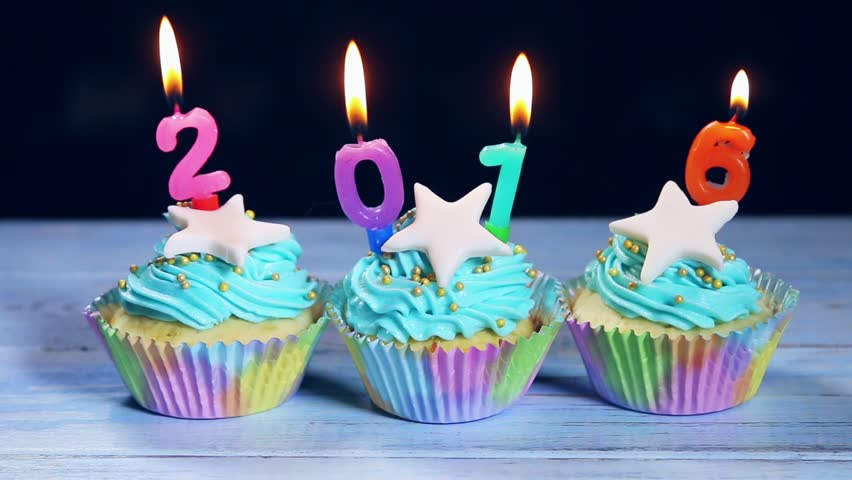 Cupcakes and candles Happy New Year 2018 - Royalty Free Video
