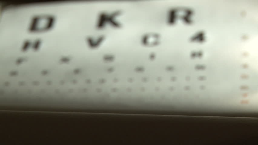 Eye test and eyeglasses. Shallow depth of field.