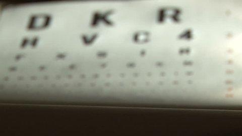 Eye test and eyeglasses. Shallow depth of field.
