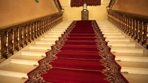 MOSCOW KREMLIN, RUSSIA - OCTOBER 09, 2015: stairs leads inside the Kremlin Armoury. Armoury is one of the oldest museums of Moscow, established in 1808 and located in the Moscow Kremlin.