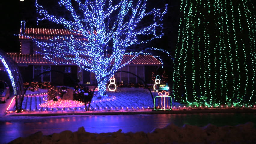 massive obnoxious christmas house light display hd stock video clip - Christmas Lights Video