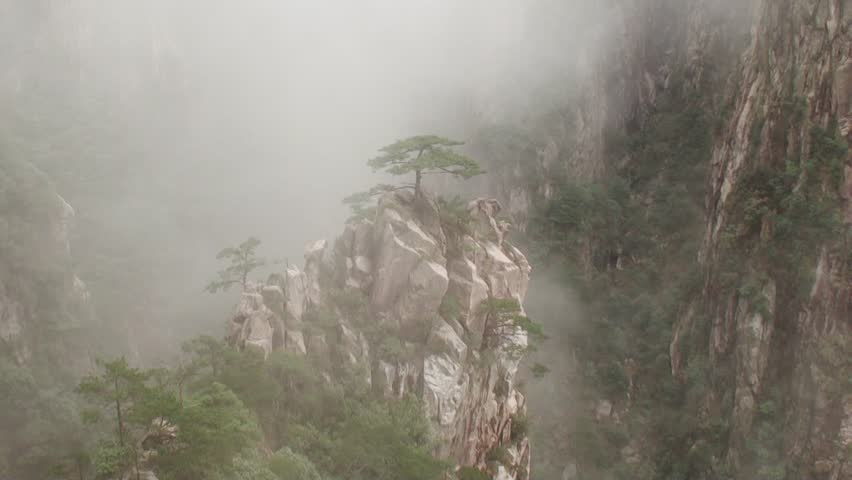 Amazing scene of Mist moving in the most famous mountain in China, Mount Huangshan