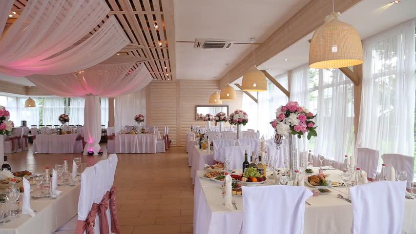 Wedding decorations restaurant interior stock footage