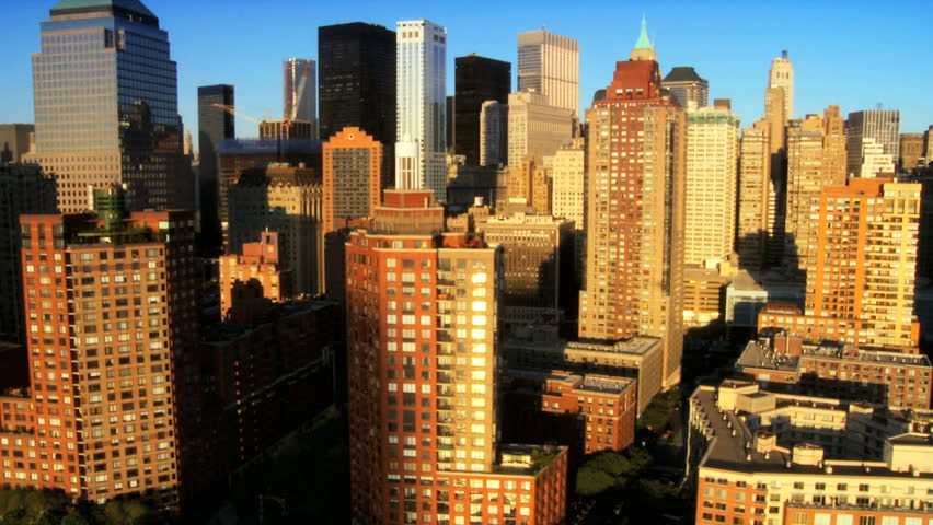 Aerial view of the Financial District Manhattan and Skyscrapers, New York City, North America, USA | Shutterstock HD Video #1277287