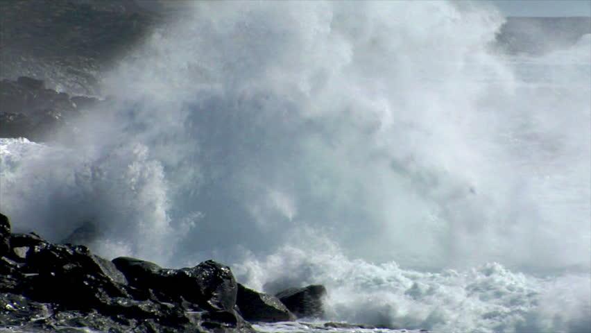extreme wave crushing coast close