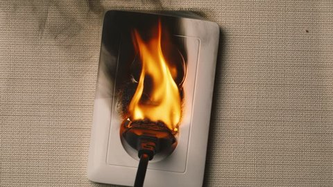 Fire in European style  wall socket. Real flames