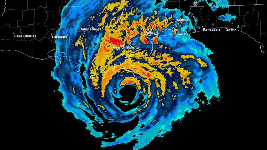 Hurricane Katrina (2005) Landfall Doppler Radar Time Lapse.  Pursuant to 17 U.S.C. § 403: This work was created using archived NEXRAD Data from the NWS which is not subject to copyright protection.  | Shutterstock HD Video #12797111