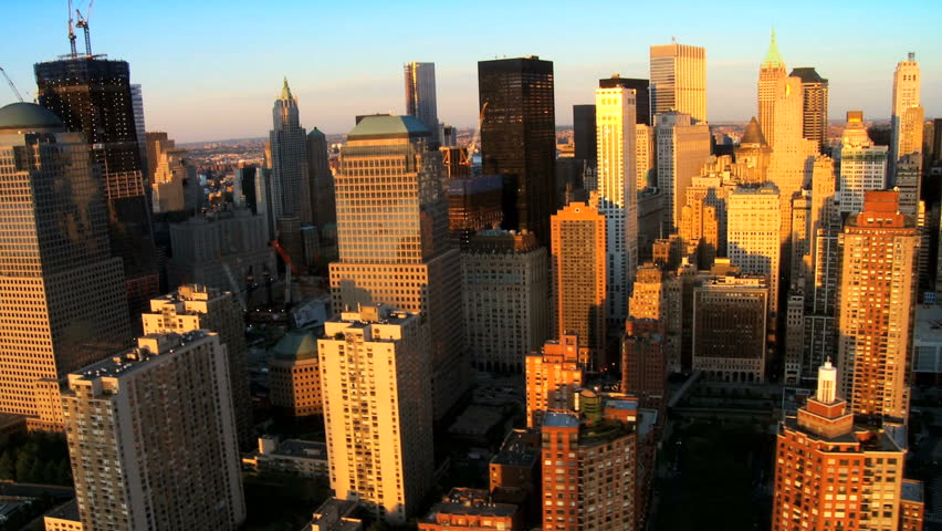 Aerial view of Manhattans Financial Business Quarter, at Sunset, New York City, North America, USA