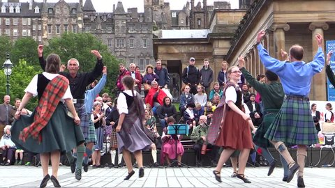 Scotland. Edinburgh. June 2015. Scottish folk dancers.Wearing  kilth and traditional clothes
