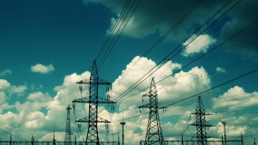 electric high voltage pylon against sky
