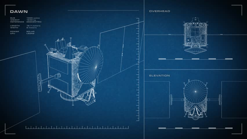 Looping animated orthographic engineering blueprint of dawn looping animated orthographic engineering blueprint of dawn spacecraft displayed specs are accurate stock footage video 12854057 shutterstock malvernweather Images