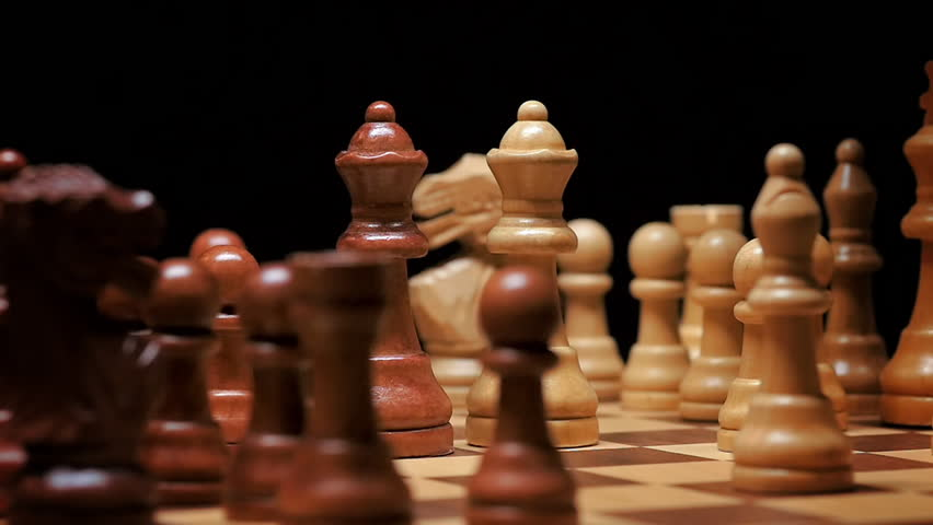 Queen Defeats Opponent's Queen in Spinning Chess Game, Slow Motion