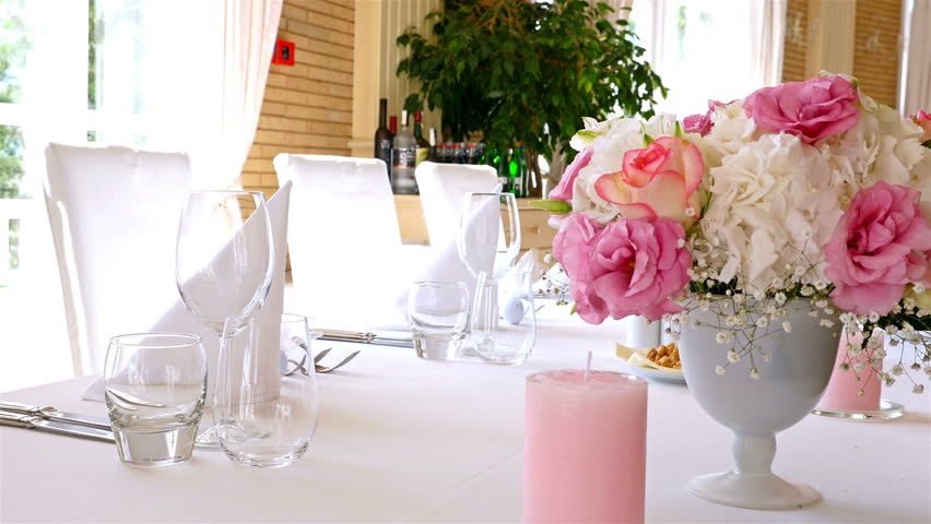 Wedding Decorated Tables With Flowers And Candles   4K Stock Video Clip