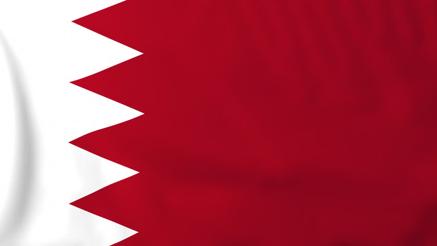 Flag of Bahrain, slow motion waving. Rendered using official design and colors. Highly detailed fabric texture. Seamless loop in full 4K resolution. ProRes 422 codec.