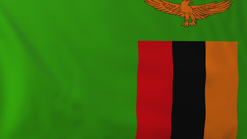 Flag of Zambia, slow motion waving. Rendered using official design and colors. Highly detailed fabric texture. Seamless loop in full 4K resolution. ProRes 422 codec.