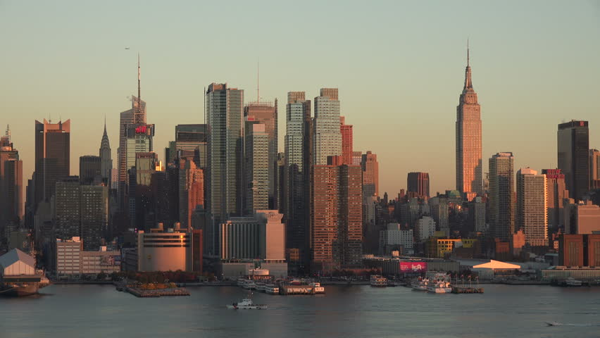 View Of Midtown Manhattan From Across The Hudson River Before Sunset   4K  Stock Video Clip
