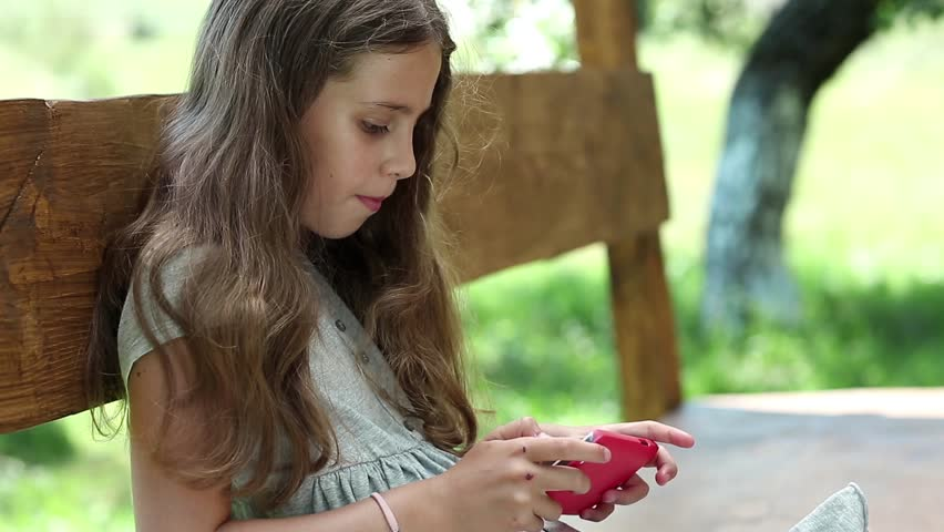 Beautiful Girl With Red Smartphone Stock Footage Video 100 Royalty