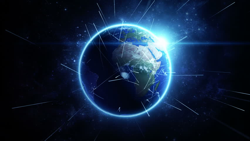 Animation rotation of glowing globe of earth with view from space and flare of light. Technologic background with lines of data transfering or routes of rockets. Animation of seamless loop. | Shutterstock HD Video #12979487