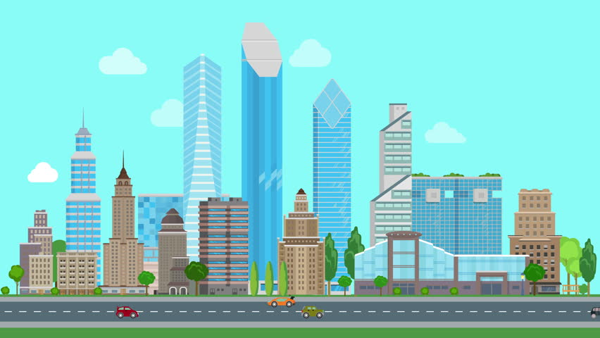 Animated Green Buildings : Flat cartoon panoramic city day looped animated background