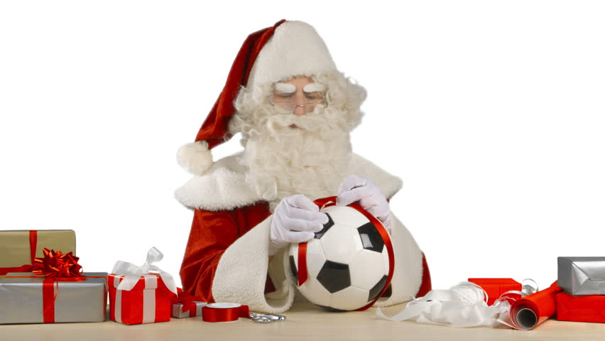 Santa Claus Is Tying A Bow On A Soccer Ball Stock Footage Video 13015607 |  Shutterstock