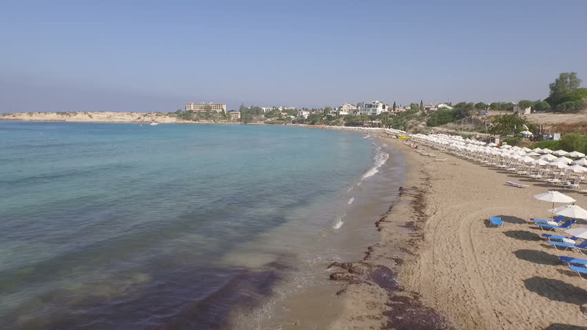 Stunning aerial drone shot along a beach in Cyprus