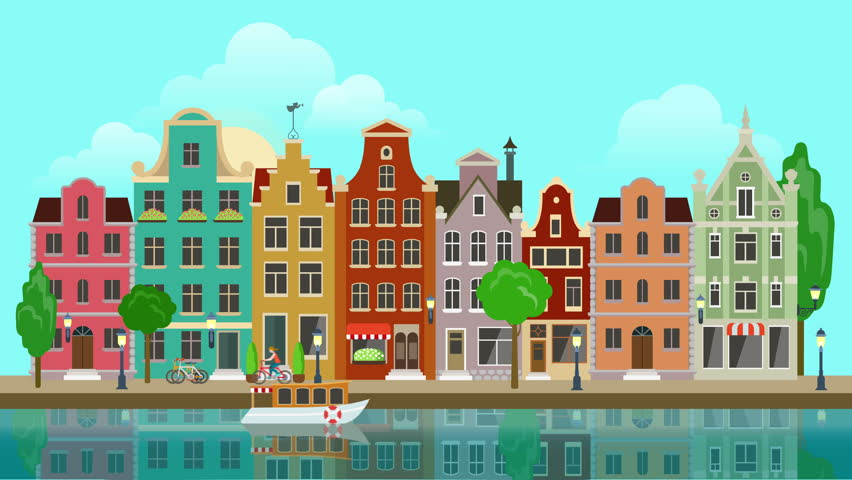 Cartoon neighborhood background
