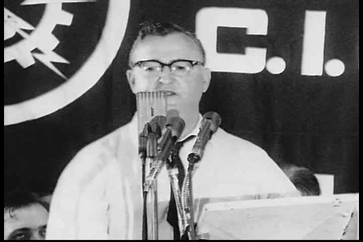 CIRCA 1960s - Milton Wyrock introduces Charles Folks at an AFL-CIO civil rights rally in the 1960s.