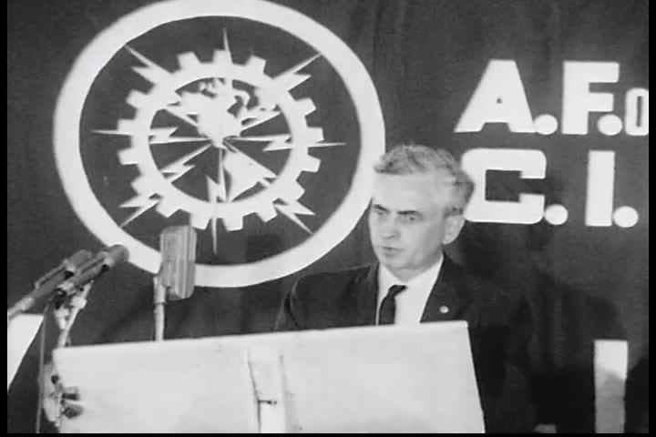 CIRCA 1960s - International president, Jim Carrey, discusses civil rights legislation at an AFL-CIO civil rights rally in the 1960s.