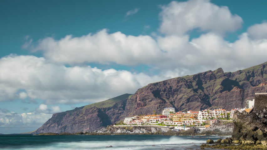 Mountain city Los-Gigantes day at Tenerife island 4k timelapse spain   | Shutterstock HD Video #13134701